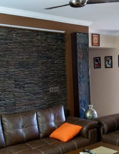 Living Room with Stone background
