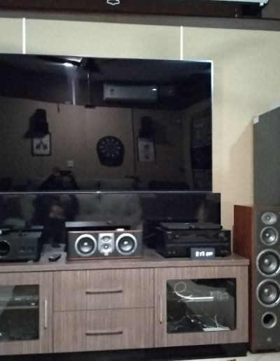 The Home Theater with Sound proof Wood paneling